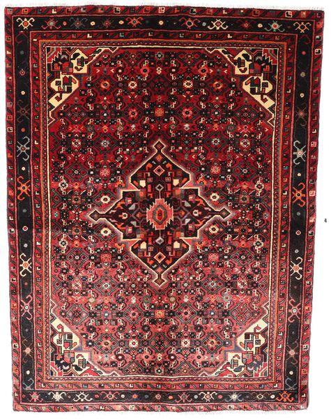 Hosseinabad Matto 155X203 Itämainen Käsinsolmittu Tummanpunainen (Villa, Persia/Iran)