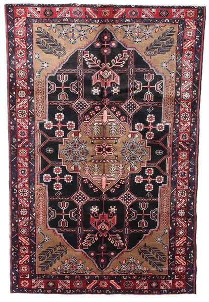 Hamadan Matto 150X242 Itämainen Käsinsolmittu Tummanpunainen/Tummanruskea (Villa, Persia/Iran)