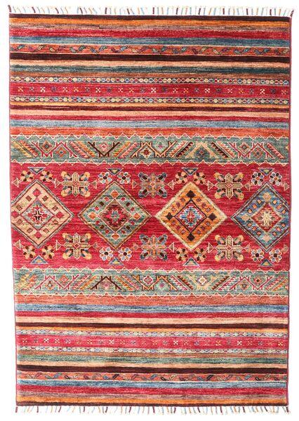 Shabargan Matto 106X148 Moderni Käsinsolmittu Ruoste/Tummanpunainen (Villa, Afganistan)