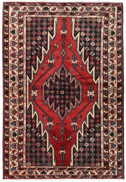 Hamadan Matto 138X202 Itämainen Käsinsolmittu Tummanruskea/Tummanpunainen (Villa, Persia/Iran)