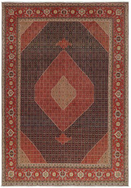 Tabriz 50 Raj Matto 327X460 Itämainen Käsinsolmittu Tummanruskea/Ruskea Isot (Villa/Silkki, Persia/Iran)