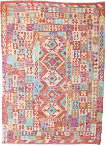 Kelim Afghan Old Style Matto 212X295 Itämainen Käsinkudottu Beige/Tummanpunainen (Villa, Afganistan)