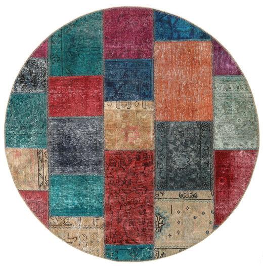 Patchwork - Persien/Iran Matto Ø 150 Moderni Käsinsolmittu Pyöreä Tummanpunainen/Tummansininen (Villa, Persia/Iran)