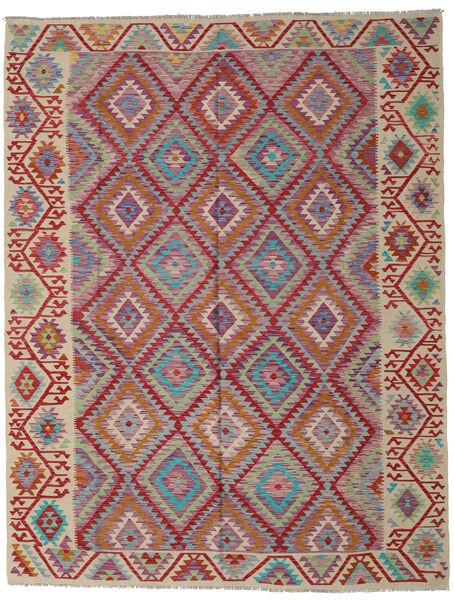 Kelim Afghan Old Style Matto 261X336 Itämainen Käsinkudottu Tummanpunainen/Vaaleanharmaa Isot (Villa, Afganistan)