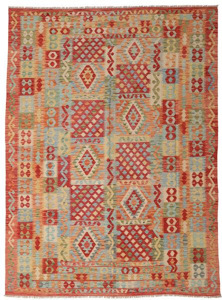 Kelim Afghan Old Style Matto 252X347 Itämainen Käsinkudottu Vaaleanruskea/Ruoste Isot (Villa, Afganistan)