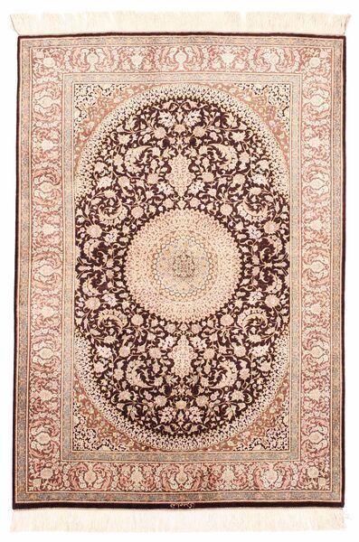 Ghom Silkki Matto 100X146 Itämainen Käsinkudottu Tummanruskea/Vaaleanpunainen (Silkki, Persia/Iran)