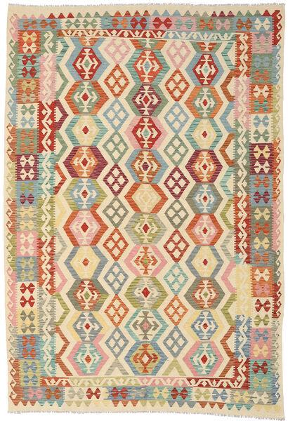 Kelim Afghan Old Style Matto 208X303 Itämainen Käsinkudottu Beige/Tummanbeige (Villa, Afganistan)