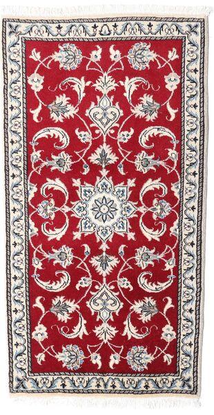 Nain Matto 70X135 Itämainen Käsinsolmittu Punainen/Vaaleanharmaa (Villa, Persia/Iran)