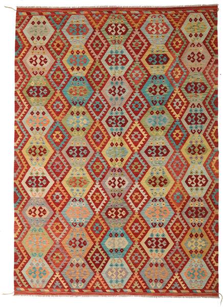 Kelim Afghan Old Style Matto 246X348 Itämainen Käsinkudottu Tummanpunainen/Vaaleanvihreä (Villa, Afganistan)