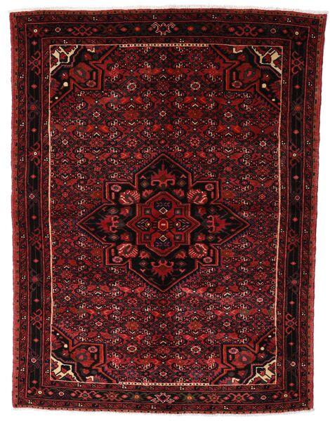 Hosseinabad Matto 150X200 Itämainen Käsinsolmittu Tummanruskea/Tummanpunainen (Villa, Persia/Iran)