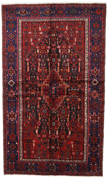 Hamadan Matto 142X235 Itämainen Käsinsolmittu Tummanpunainen/Tummanruskea (Villa, Persia/Iran)