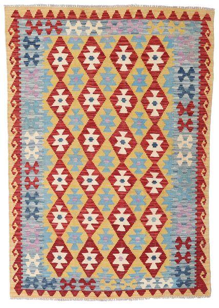 Kelim Afghan Old Style Matto 124X179 Itämainen Käsinkudottu Tummanpunainen/Vaaleanharmaa (Villa, Afganistan)