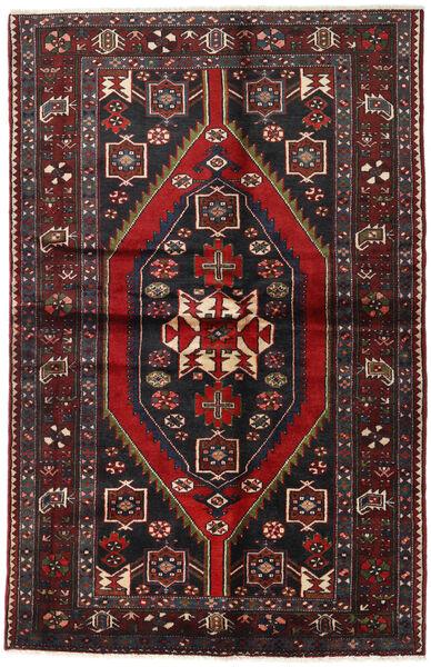 Hamadan Matto 133X207 Itämainen Käsinsolmittu Musta/Tummanpunainen (Villa, Persia/Iran)
