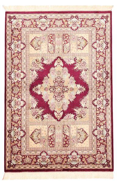 Ghom Silkki Matto 100X147 Itämainen Käsinkudottu Vaaleanpunainen/Beige (Silkki, Persia/Iran)