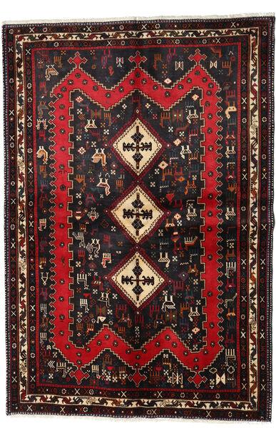 Afshar Matto 159X232 Itämainen Käsinsolmittu Musta/Tummanpunainen (Villa, Persia/Iran)