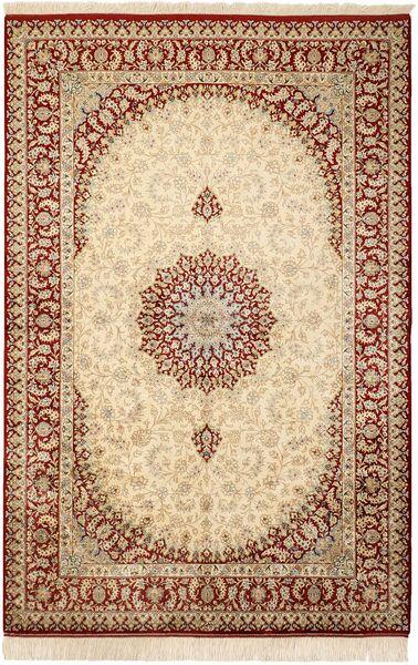 Ghom Silkki Matto 132X201 Itämainen Käsinsolmittu Beige/Vaaleanruskea (Silkki, Persia/Iran)