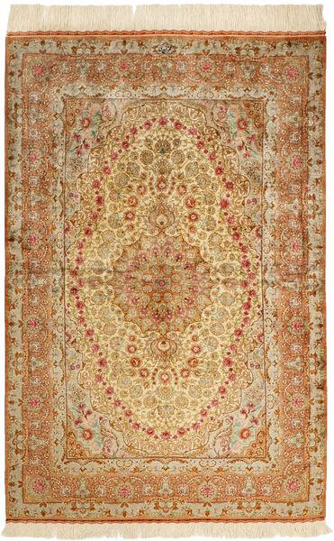 Ghom Silkki Matto 102X152 Itämainen Käsinsolmittu Ruskea/Tummanbeige/Beige (Silkki, Persia/Iran)
