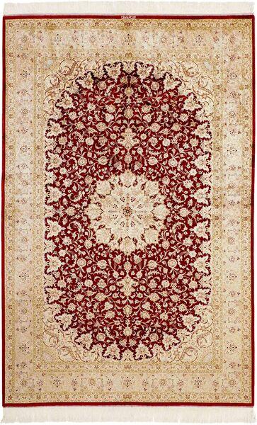 Ghom Silkki Matto 159X246 Itämainen Käsinsolmittu Beige/Tummanpunainen (Silkki, Persia/Iran)