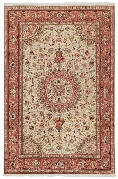 Tabriz 50 Raj Matto 202X308 Itämainen Käsinsolmittu Ruskea/Vaaleanruskea (Villa/Silkki, Persia/Iran)