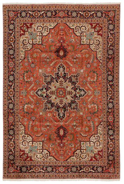 Tabriz 50 Raj Matto 203X304 Itämainen Käsinsolmittu Tummanruskea/Punainen (Villa/Silkki, Persia/Iran)
