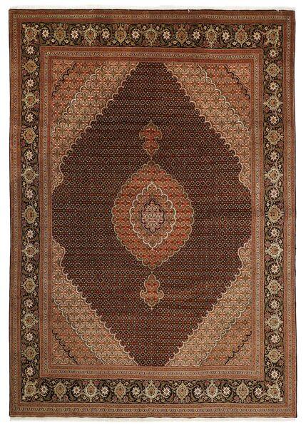 Tabriz 50 Raj Matto 251X347 Itämainen Käsinsolmittu Tummanruskea/Ruskea Isot (Villa/Silkki, Persia/Iran)