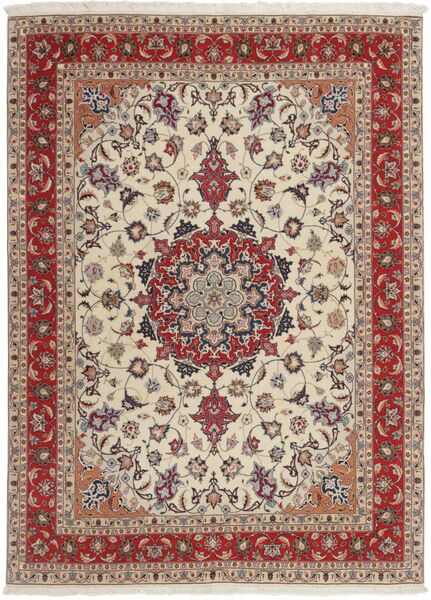 Tabriz 50 Raj Matto 151X210 Itämainen Käsinkudottu Vaaleanharmaa/Tummanpunainen (Villa/Silkki, Persia/Iran)
