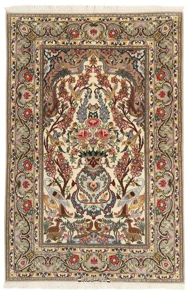 Isfahan Silkkiloimi Matto 106X161 Itämainen Käsinsolmittu Beige/Ruskea (Villa/Silkki, Persia/Iran)