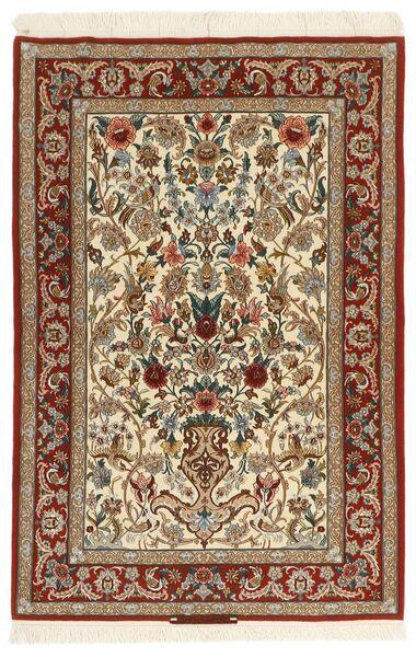 Isfahan Silkkiloimi Matto 105X161 Itämainen Käsinkudottu Vaaleanruskea/Beige (Villa/Silkki, Persia/Iran)