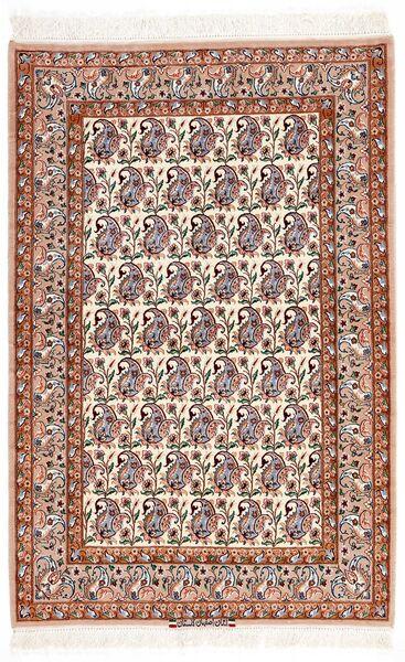Isfahan Silkkiloimi Matto 106X161 Itämainen Käsinsolmittu Tummanruskea/Beige (Villa/Silkki, Persia/Iran)