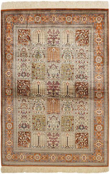 Ghom Silkki Matto 102X150 Itämainen Käsinkudottu Ruskea/Vaaleanharmaa (Silkki, Persia/Iran)