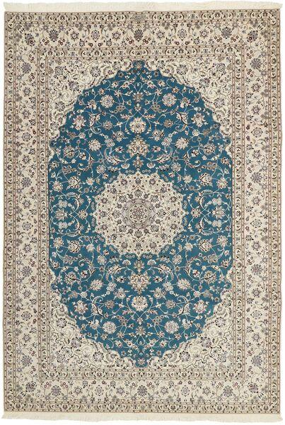 Nain 6La Matto 204X303 Itämainen Käsinkudottu Vaaleanharmaa/Sininen (Villa/Silkki, Persia/Iran)