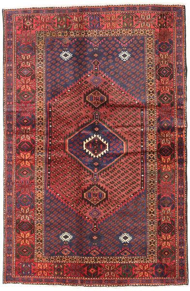 Hamadan Matto 131X196 Itämainen Käsinsolmittu Tummanpunainen/Tummanruskea (Villa, Persia/Iran)