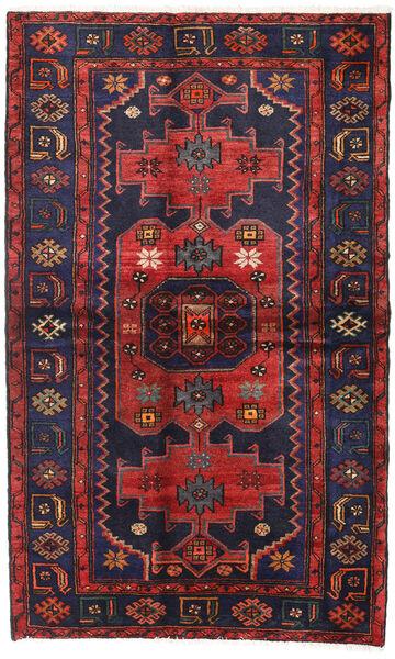 Hamadan Matto 131X213 Itämainen Käsinsolmittu Musta/Tummanpunainen (Villa, Persia/Iran)