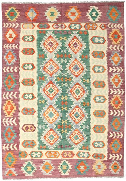 Kelim Afghan Old Style Matto 175X250 Itämainen Käsinkudottu Beige/Ruskea (Villa, Afganistan)