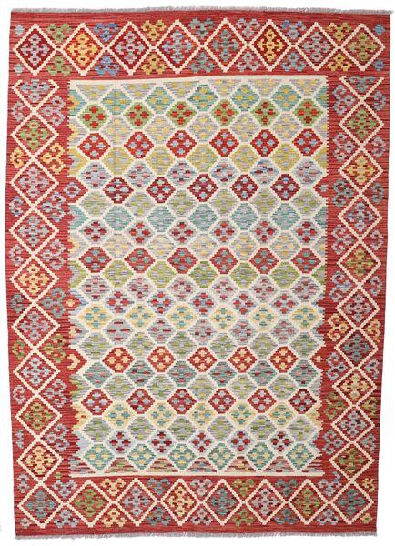 Kelim Afghan Old Style Matto 203X284 Itämainen Käsinkudottu Tummanpunainen/Ruoste (Villa, Afganistan)