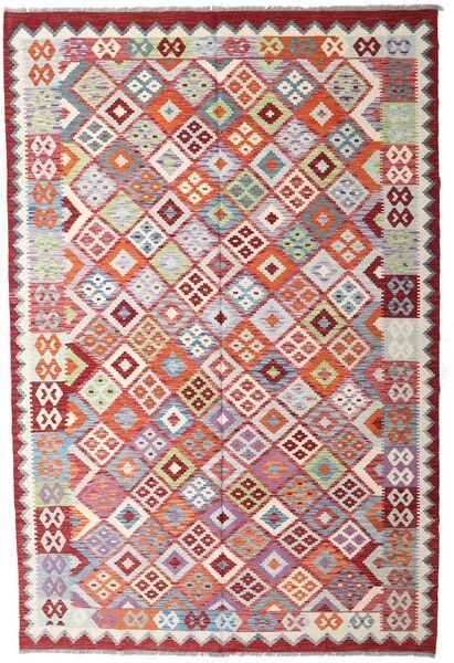 Kelim Afghan Old Style Matto 206X309 Itämainen Käsinkudottu Vaaleanharmaa/Ruskea (Villa, Afganistan)