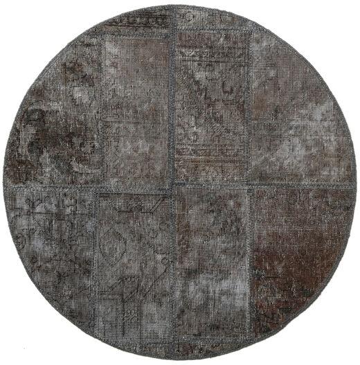 Patchwork - Persien/Iran Matto Ø 100 Moderni Käsinsolmittu Pyöreä Tummanharmaa (Villa, Persia/Iran)