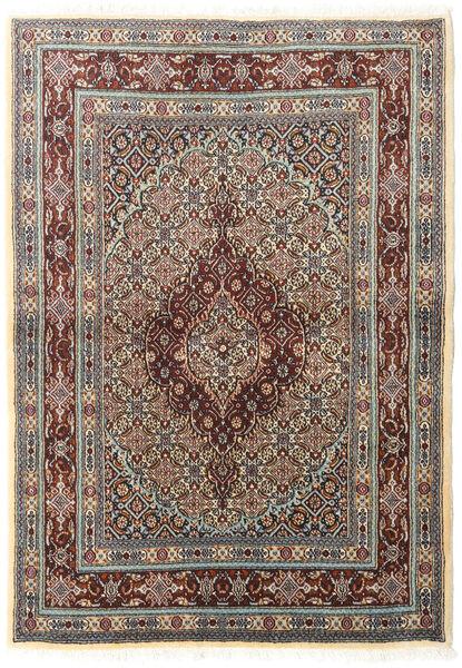 Moud Matto 100X142 Itämainen Käsinsolmittu Vaaleanharmaa/Tummanruskea (Villa/Silkki, Persia/Iran)