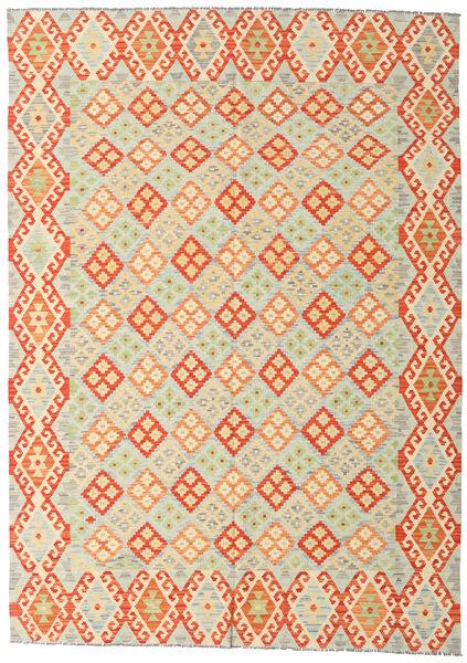 Kelim Afghan Old Style Matto 208X293 Itämainen Käsinkudottu Beige/Oranssi/Tummanbeige (Villa, Afganistan)