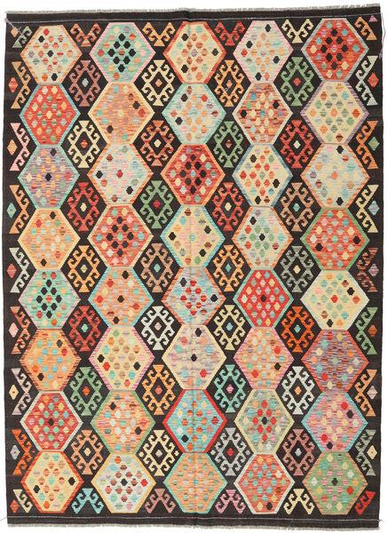 Kelim Afghan Old Style Matto 216X291 Itämainen Käsinkudottu Tummanruskea/Tummanbeige (Villa, Afganistan)