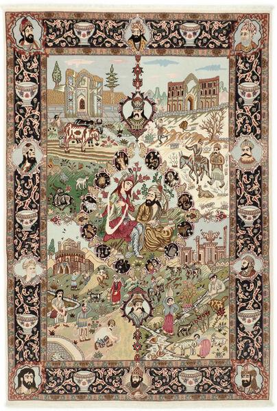 Tabriz 50 Raj Matto 150X219 Itämainen Käsinsolmittu Ruskea/Vaaleanruskea (Villa/Silkki, Persia/Iran)
