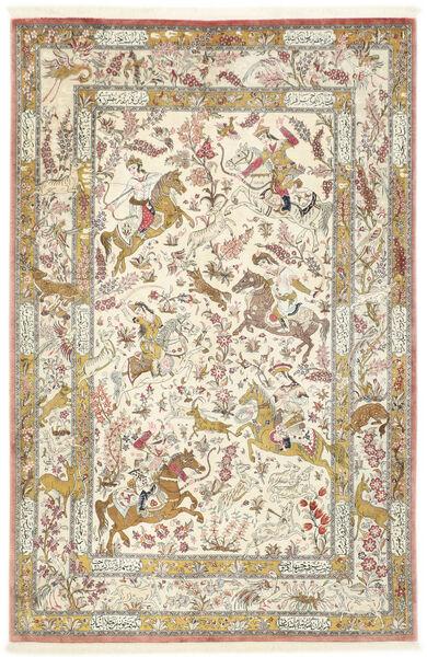 Ghom Silkki Matto 132X203 Itämainen Käsinsolmittu Beige/Tummanbeige (Silkki, Persia/Iran)