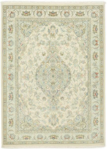 Tabriz 70 Raj Silkkiloimi Matto 150X202 Itämainen Käsinsolmittu Tummanbeige/Beige (Villa/Silkki, Persia/Iran)