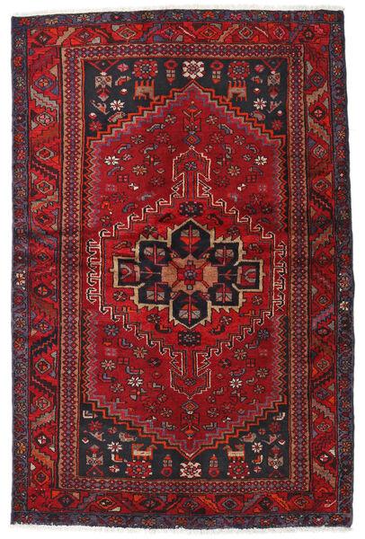 Hamadan Matto 131X201 Itämainen Käsinsolmittu Tummanpunainen/Tummanruskea (Villa, Persia/Iran)