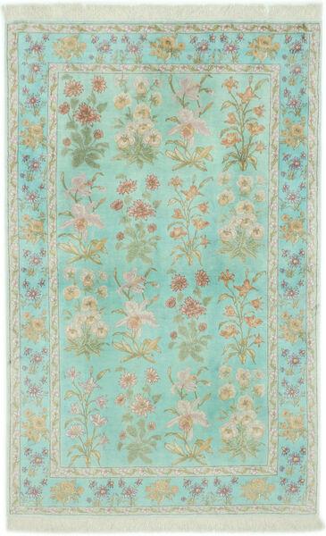 Ghom Silkki Matto 102X160 Itämainen Käsinsolmittu Pastellinvihreä/Vaaleanharmaa (Silkki, Persia/Iran)