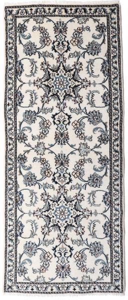 Nain Matto 81X191 Itämainen Käsinsolmittu Käytävämatto Vaaleanharmaa/Valkoinen/Creme (Villa, Persia/Iran)