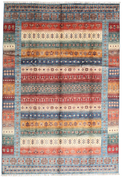 Shabargan Matto 207X305 Moderni Käsinsolmittu Tummanruskea/Vaaleanharmaa (Villa, Afganistan)