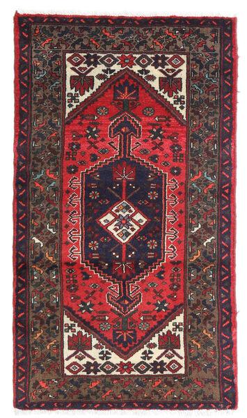 Hamadan Matto 72X130 Itämainen Käsinsolmittu Tummanvioletti/Tummanpunainen (Villa, Persia/Iran)