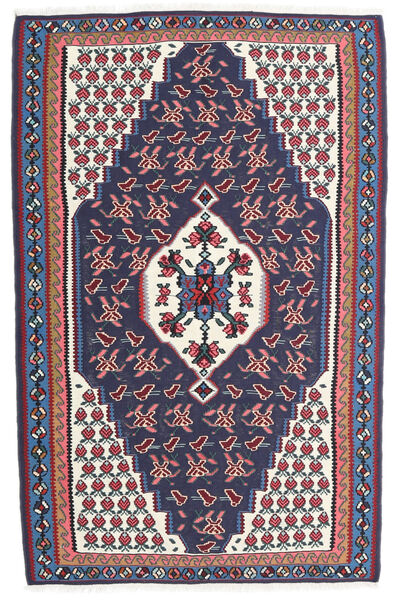 Kelim Senneh Matto 110X170 Itämainen Käsinkudottu Tummanharmaa/Tummanvioletti (Villa, Persia/Iran)