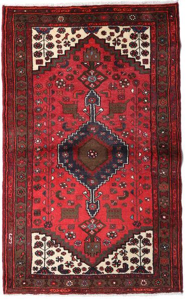 Hamadan Matto 95X156 Itämainen Käsinsolmittu Tummanpunainen/Tummanruskea (Villa, Persia/Iran)